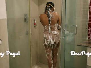 Indian bhabhi taking shower after having hot sex with her husband in hotel bathroom