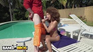 BANGBROS – Horny Black Hottie Cecilia Lion Interracial Sex With The Pool Boy