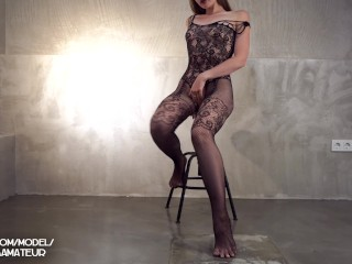 Intimate Sex against the wall in black netted lingerie with Deepthroat and a Big cumshot on the bud
