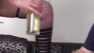 german slave get order to drink her whole piss from glas