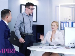 Bi-Empire - Sexy Angel Vicky and her co-worker seduce a hot man