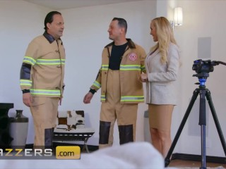 Brazzers - Blonde Busty Milf Brandi Love Teases A Young Fireman And Seduces His Big Cock