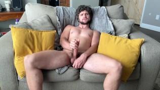 curious married bi jock plays with big tight cut cock and fucks furry ass with njoy wand