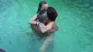 Weekend party: Pool threesome for three horny friends