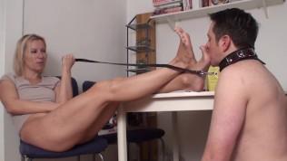 foot fetish slave of blond milf