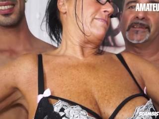 ScambistiMaturi - Laura Rey Fat Ass Italian Mature Amateur Rough Double Penetration Gangbang