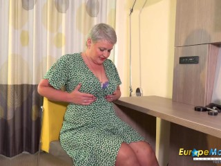 Busty British mature lady solo striptease and masturbation