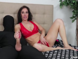Dude wanted a handjob but then she regrets it-Milf jerking off his cock until he cums on his own face