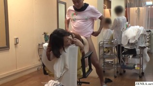 Real Japanese hair salon doggystyle sex with stylist while working