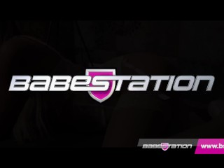 Hot blonde in lingeire Tia gets naked at Babestation