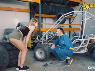 ChicasLoca - Tiffany Tatum Hot Hungarian Babe Gets Her Tight Pussy Fucked Hard By Horny Car Mechanic