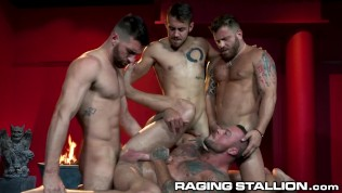 Hot Foursome With Big Dick Muscle Hunks - RagingStallion