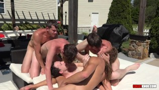 Porn Gay XXX  Group Fuck and Cum by the Pool with the ColbyKnox Boys BAREBACK