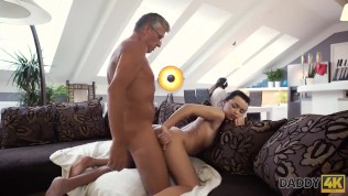 DADDY4K Guy with headphones doesn't hear how his babe has hot sex