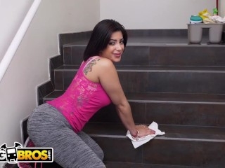 BANGBROS - The Cleaning Lady Joined Us For A Threeway On Set!