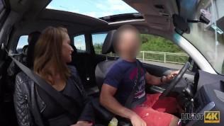 HUNT4K. Slutty girl has dirty sex in the car in front of boyfriend