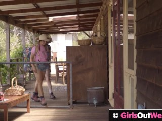 GirlsOutWest - Lesbian cuties lick and finger each others bush in orgy