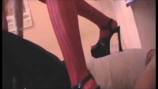 amateur mistress trample her slave in red stockings and black heels