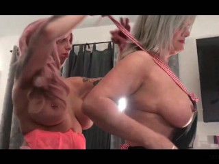 Busty amateur swinger wives sucking two massive cocks in homemade video