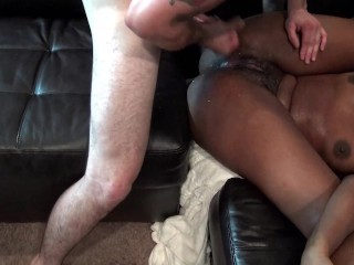 Wet pussy ebony brunette swinger gets her cunt licked and fucked hard in exclusive video