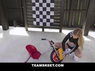 Petite Blonde In Drage-Race Girl Costume Rides Big Dick