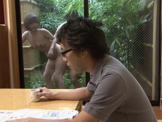Cheating Japanese Wife Has Uncensored Outdoor Sex with Gardener
