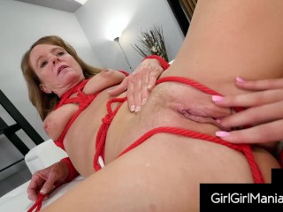 Bound Beauty Shelby Paris Muff Smashes Lusty Gilf Cyndi Sinclair!