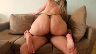 Riding Dick On The Neighbor's Couch And Making Him Cum In My Mouth