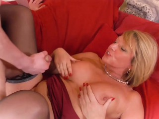 Hot blonde chick with huge natural breasts fucking