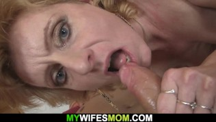 Old blonde pleases her son-in-law