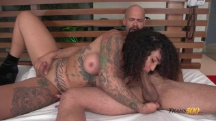 tattooed shemale and big cocked stud have hardcore anal and oral fun