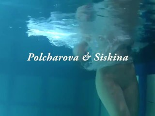 Lesbos from Russia Polcharova and Siskina getting playful in the pool with each other