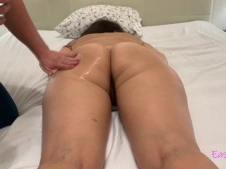 Erotic massage for sexy girlfriend and doggystyle with cum onto ass. First video for pornhub