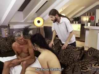 DADDY4K. Whore accumulates deep shaft in pants of her boyfriends mature father