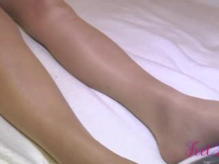 White bodysuit, glossy pantyhose, high heels