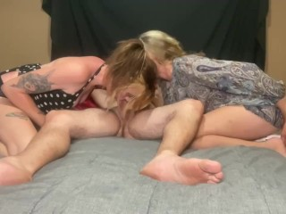 Step mom and step sis share a cock