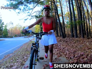 4k Msnovember Thick Ass Prone Bone Ass Up After Bike Ride Up Skirt And Black Pussy Play On Sheisnovember