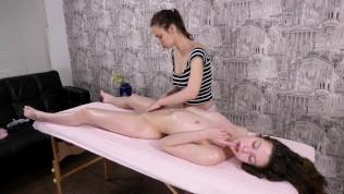 Russian babe Sofia Dolgovyaz virgin body oil massage orgasms