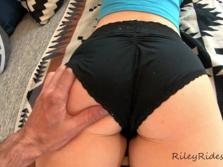 Tiny bubble butt MILF gets a massage and a creampie!! Closeup POV doggy and missionary - 4K 60FPS