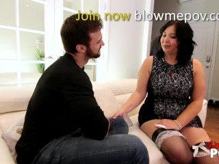 Blow me POV - She Like To Tease His Cock Whit His Mouth