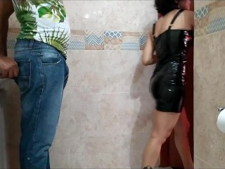 Fucking my friend's wife in the club bathroom while the innocent man waits at the table