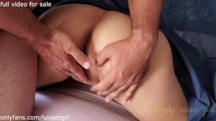 Anal Threesome XXX  Mystery sex Asian slut wife doesn't know who fucks her