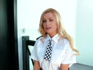 Blonde police officer shows arrests herself for an orgasm challenge