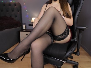 Heels/stockings tits big step handjob