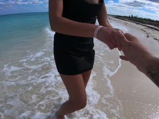 Public POV sex with blowjob and doggy style on the beach, very beautiful scene