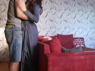 She came 3 times while Hot long sex on the red sofa with creapie and high waist briefs