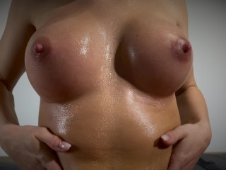 Perfect Boobs, Pussy Teasing, Handjob and Hot Cum on her Pussy Lips