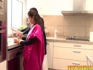 Erotic Desi gorgeous teen maid masturbates whilst gazing couple doing anus intercourse