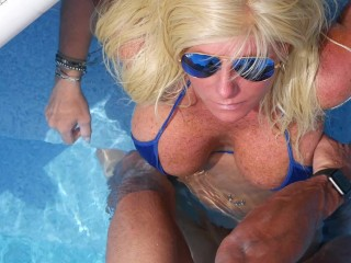 SEXIEST BIKINI FUCK EVER !!! Hooters Stepmom bangs Petite Son in Pool. Scores immense facial.