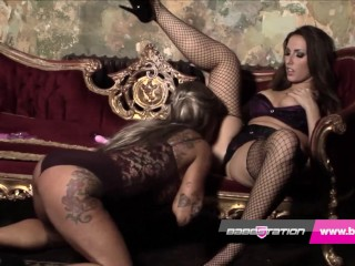 Paige Turnah and Kerry Louise hard british lesbian action